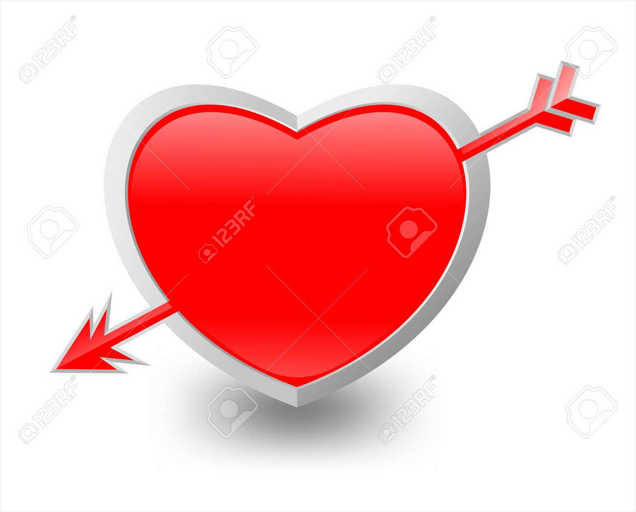 Illustration of heart and arrow Stock Illustration - 11465792