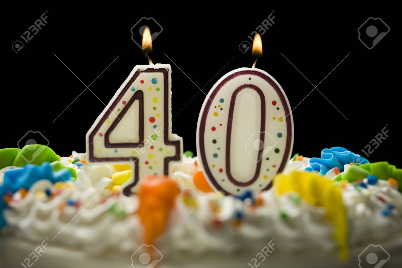 Birthday Cake With Candles That Say 40 Stock Photo