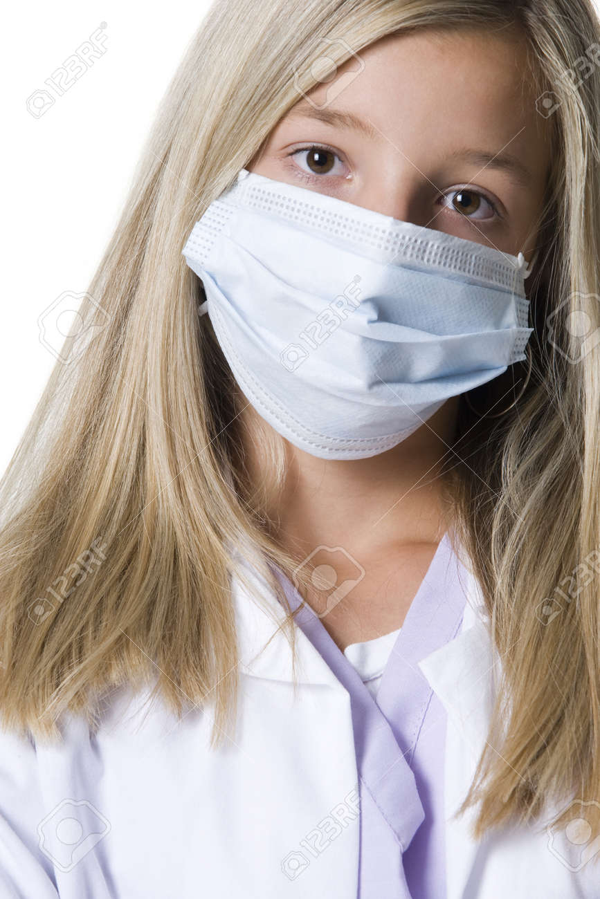 Surgical Of Mask Closeup With Girl