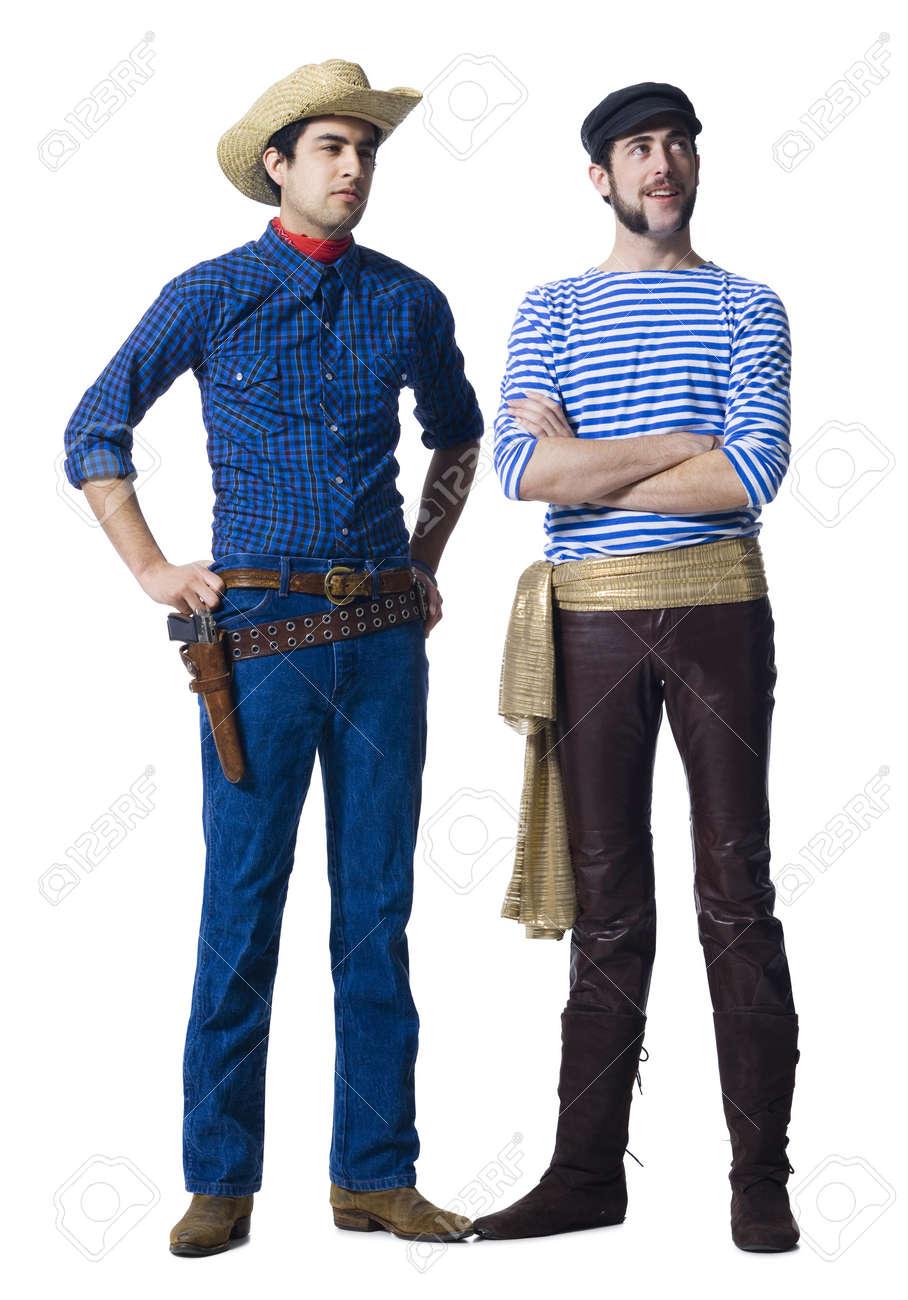 049574848d0d1 Foto de archivo - Hombre en traje de vaquero y hombre con pantalones de  cuero y cinturón Faja con los puños apretados