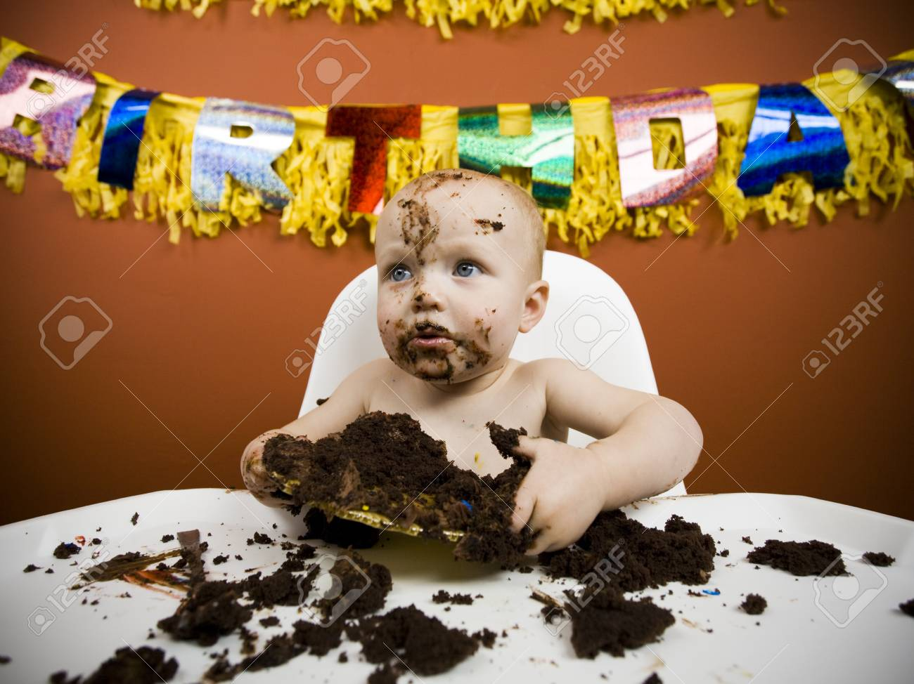 Admirable Baby Eating Birthday Cake Stock Photo Picture And Royalty Free Funny Birthday Cards Online Inifofree Goldxyz