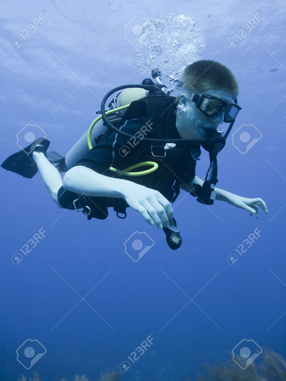 Boy Scuba Diving Underwater