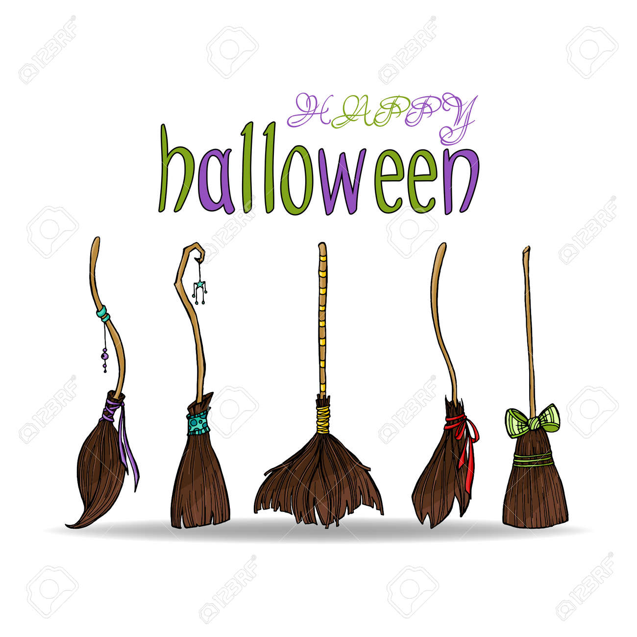 Happy Halloween Card With Different Cute Witch Brooms. Stock Vector    79965762