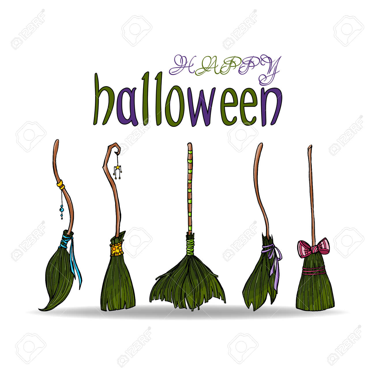 Happy Halloween Card With Different Cute Witch Brooms. Stock Vector    79981291