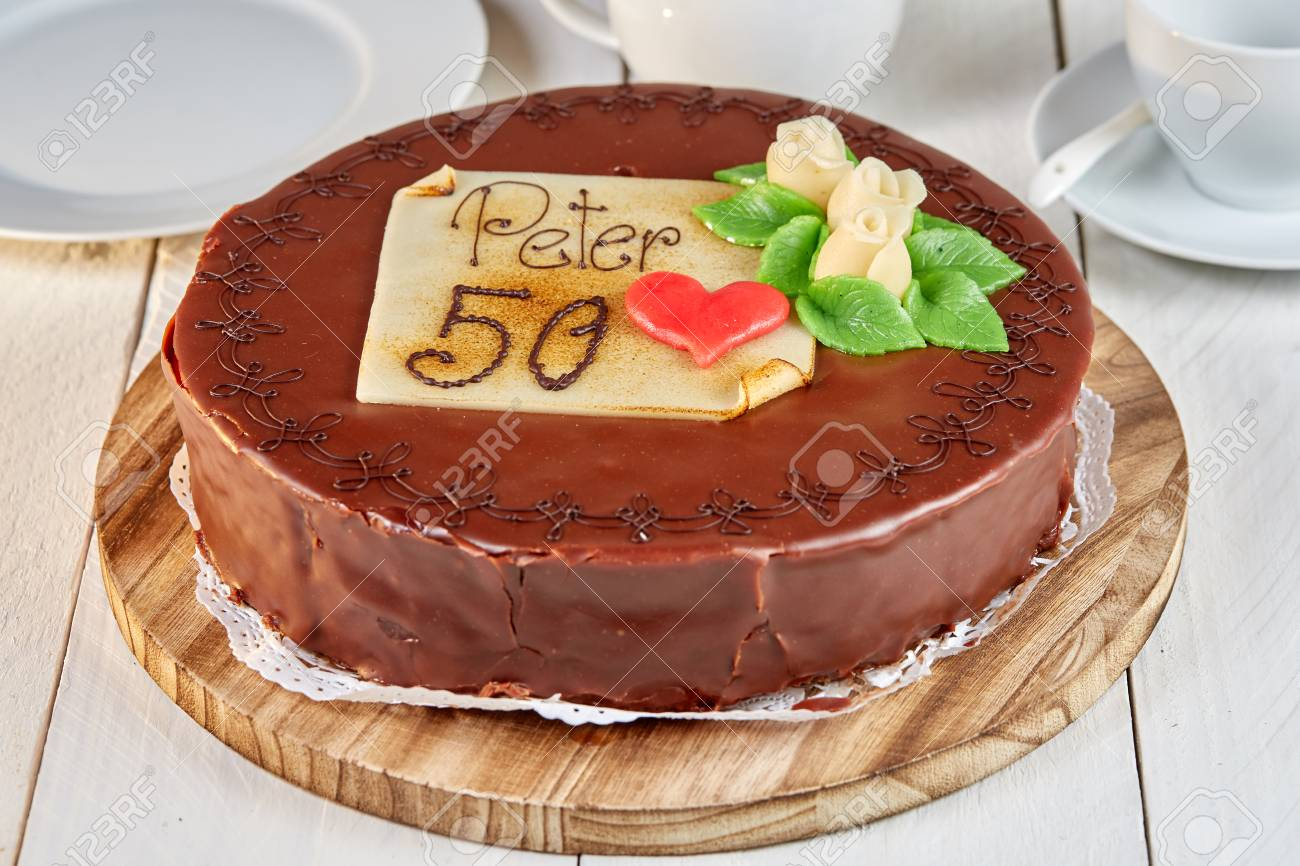 Sacher Torte Chocolate Cake With Marzipan And Number 50 And Name