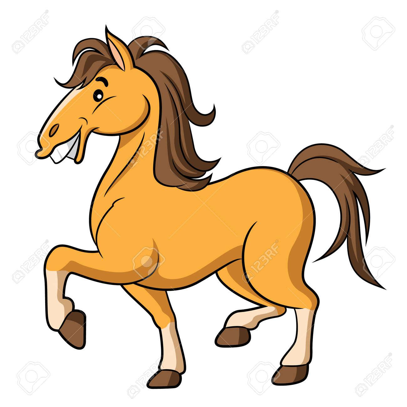 illustration of cute cartoon horse royalty free cliparts vectors rh 123rf com cute horse clipart black and white Cartoon Horse Clip Art