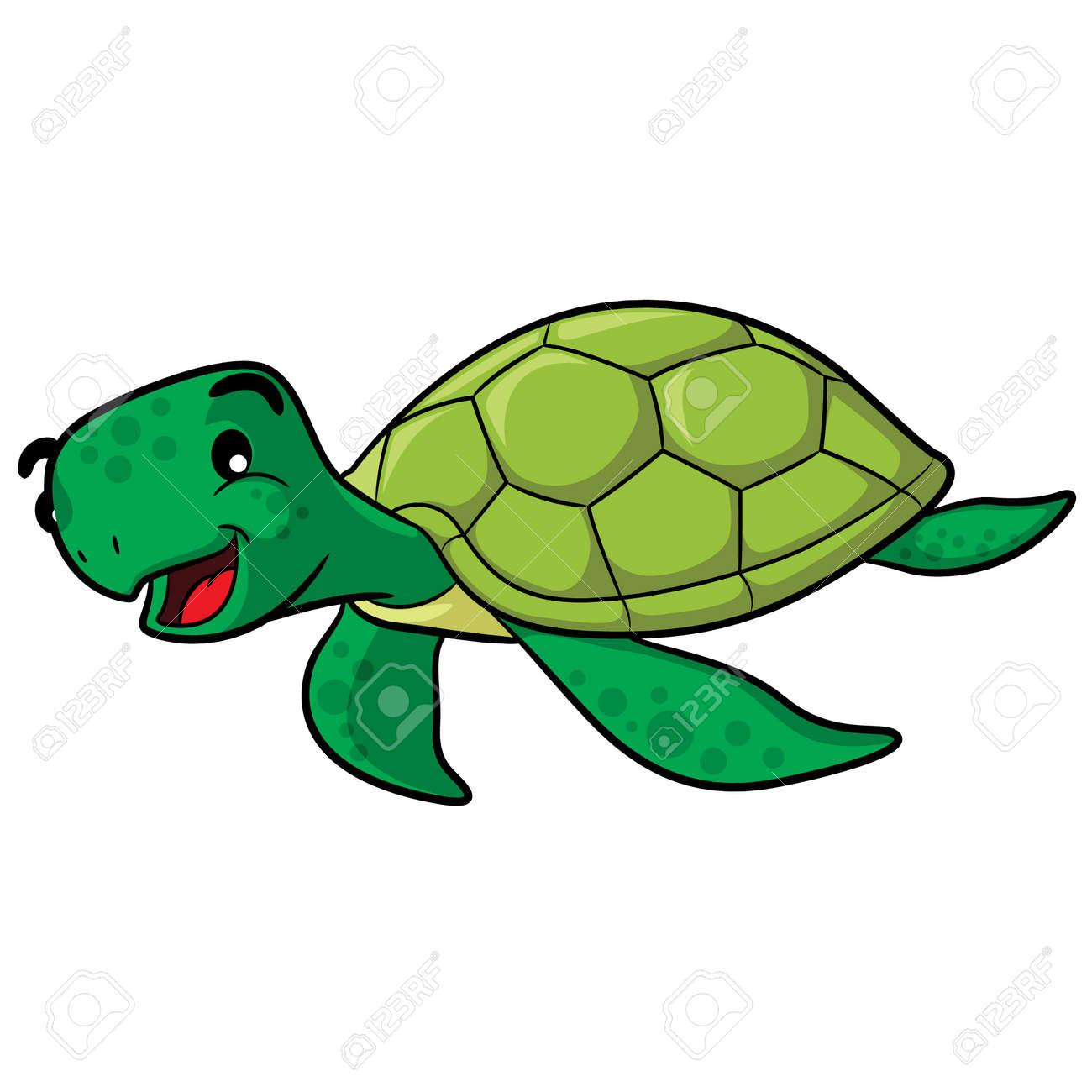 Illustration Of Cute Cartoon Sea Turtle Royalty Free Cliparts