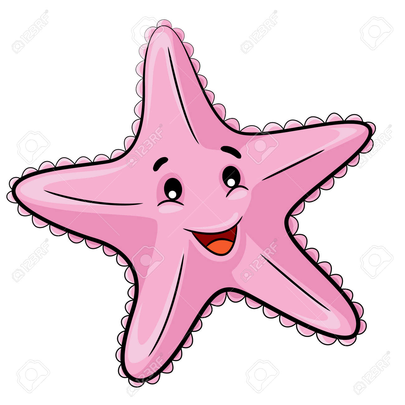 Illustration Of Cute Cartoon Starfish. Royalty Free Cliparts ... for Pink Starfish Clipart  45ifm