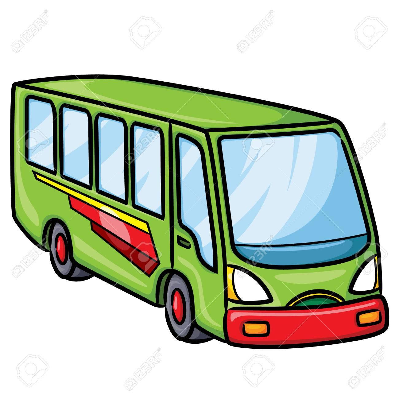かわいい漫画のバスのイラスト。ベクトルの図。 ロイヤリティフリー