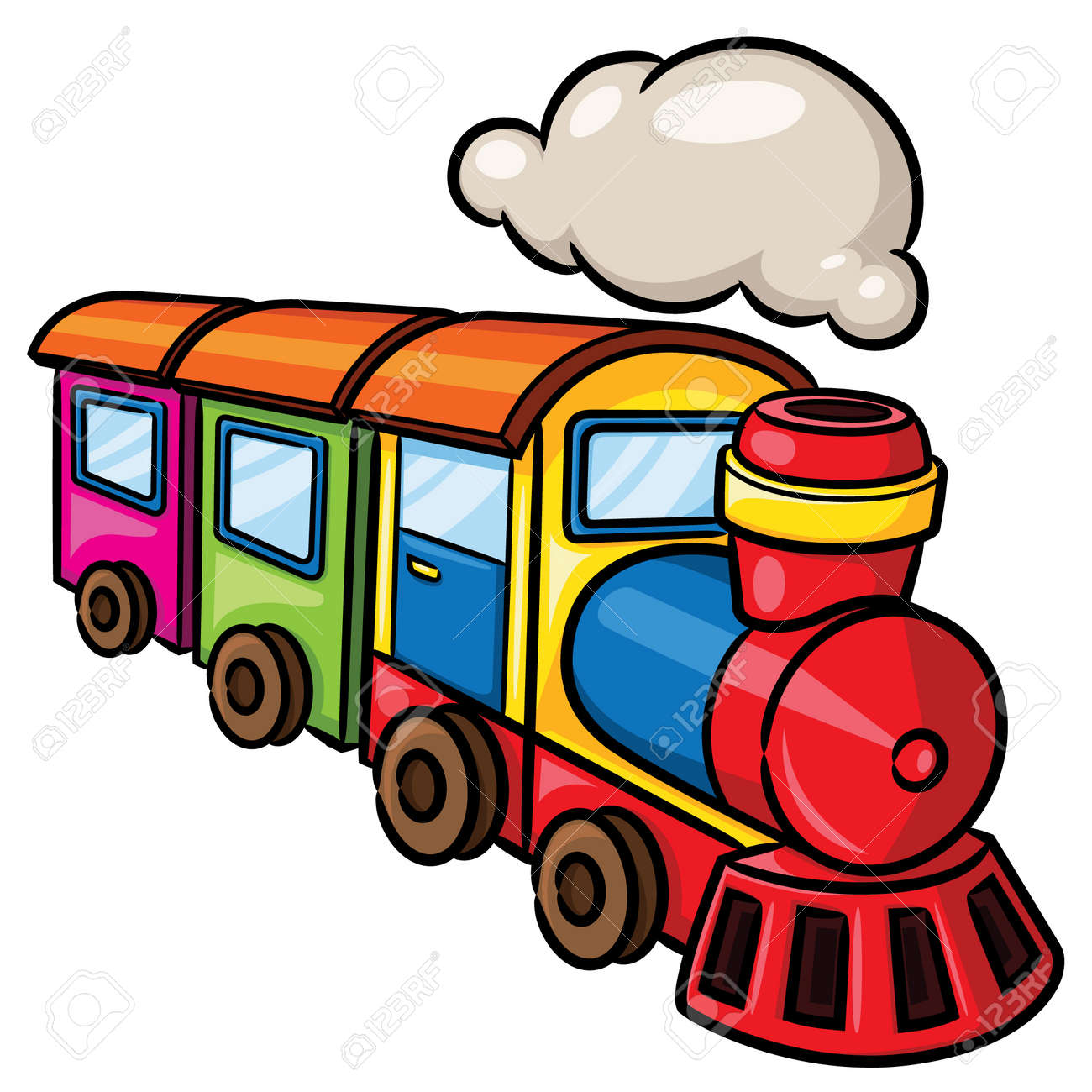 illustration of cute cartoon train royalty free cliparts vectors