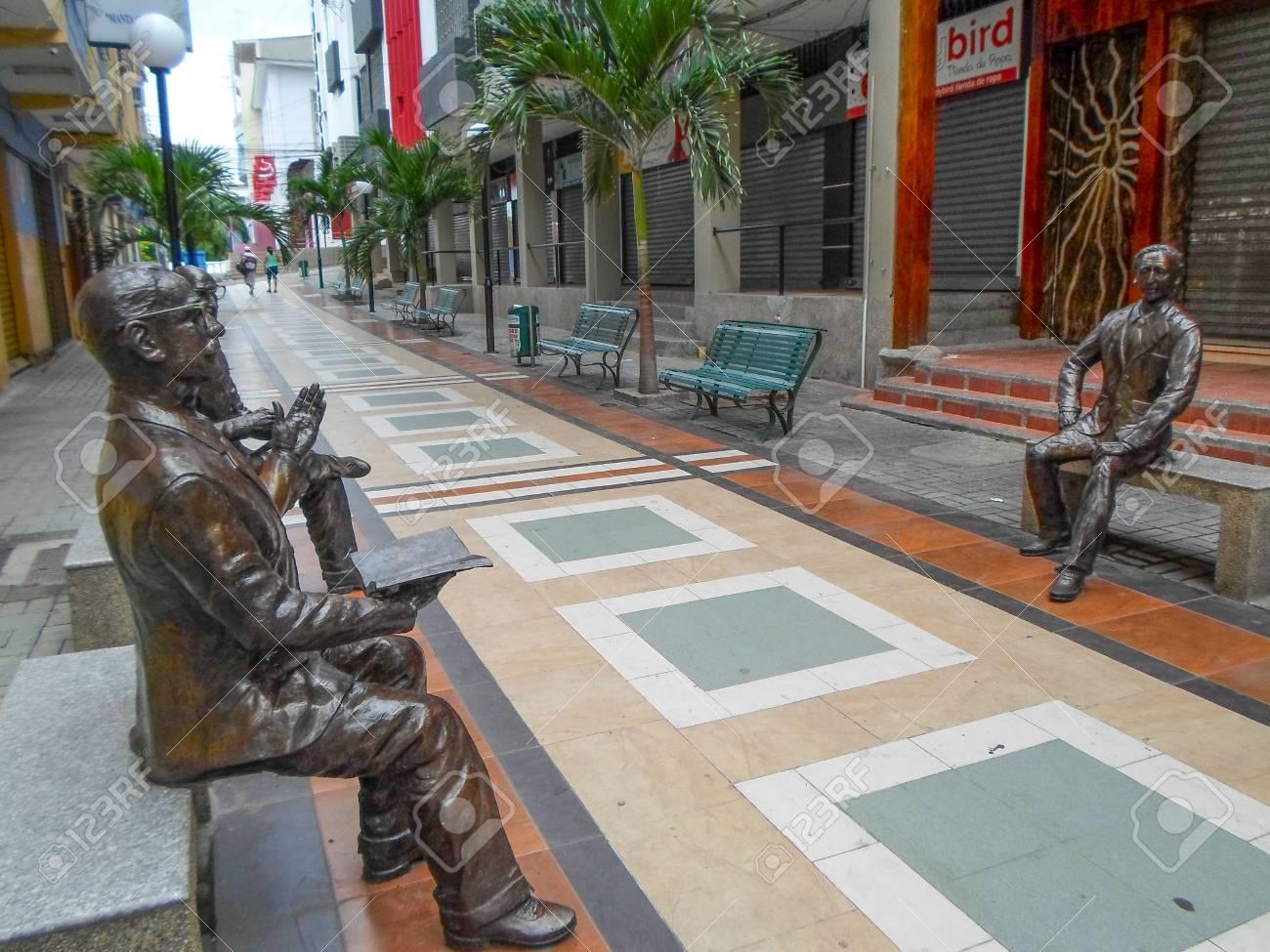 Pedestrian street in Manta, Ecuador  The city of Manta is the