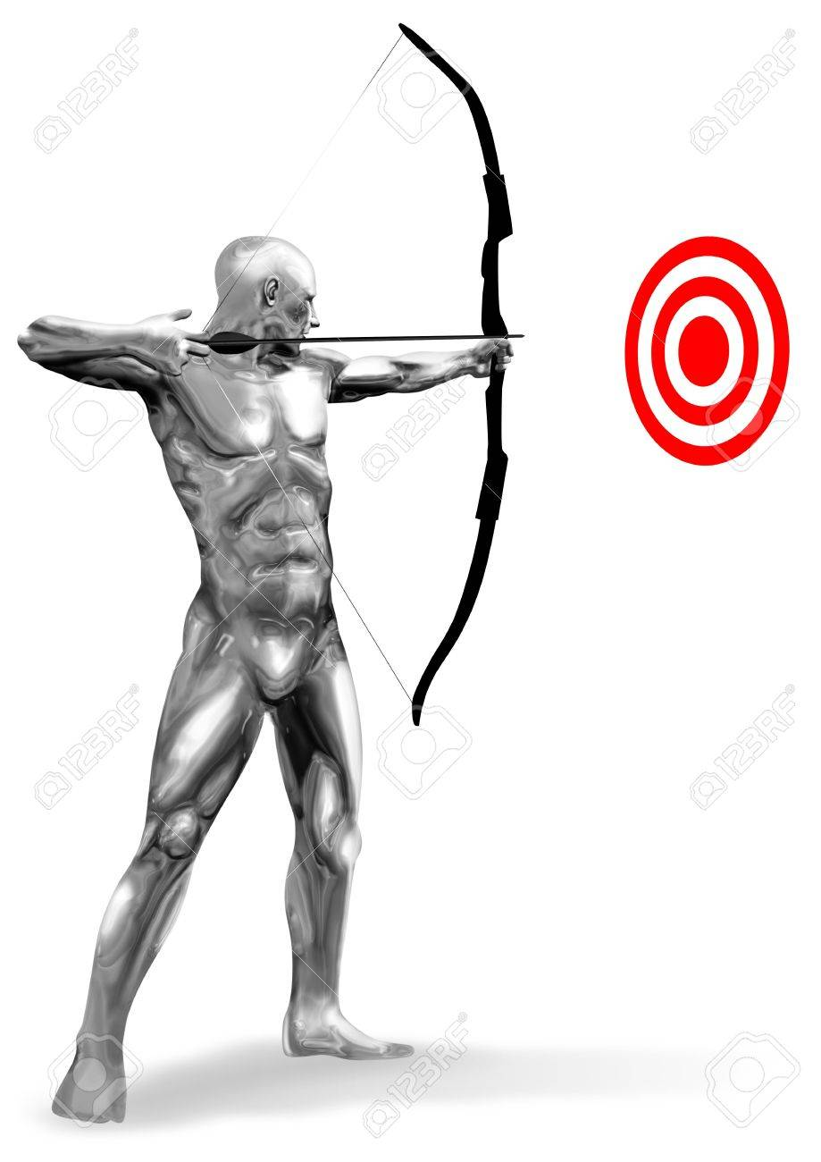 An illustration of chrome man figure aiming a target Stock Illustration - 7823478