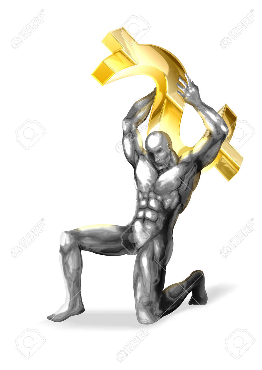 An illustration of chrome man figure are shouldering the dollar symbol Stock Illustration - 7823482