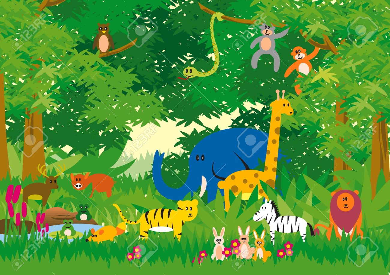 Jungle in Cartoon Stock Vector - 8356124