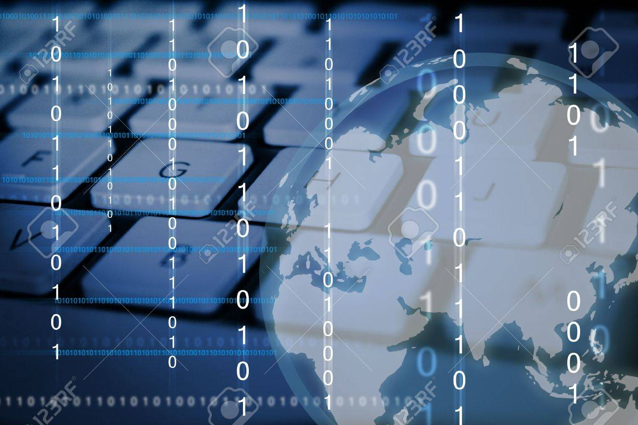 Digital Imaging of binary numbers and a globe with computer keyboard as the background Stock Photo - 8460705