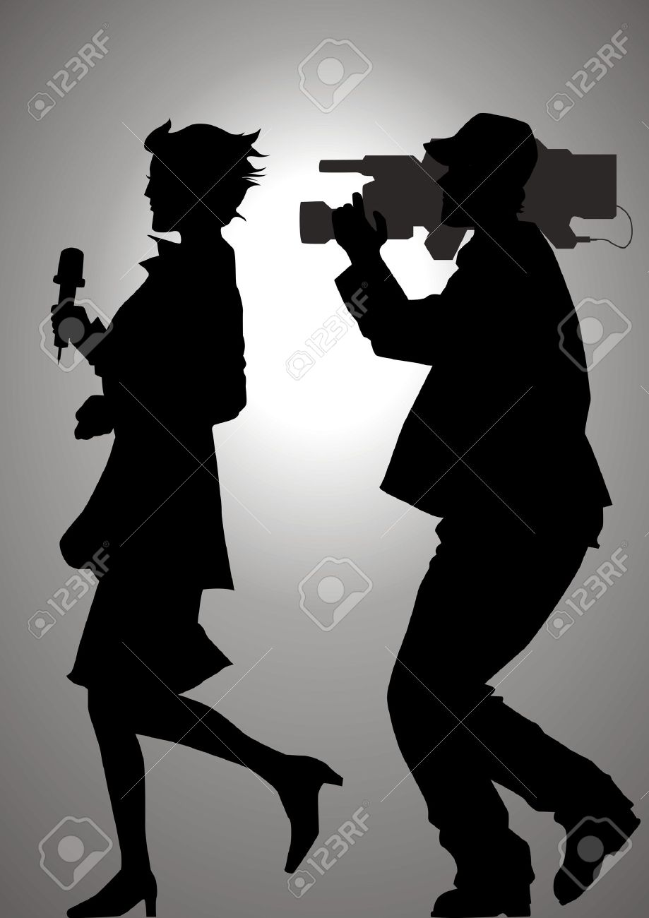 Silhouette illustration of a reporter and a cameraman Stock Vector - 8861760