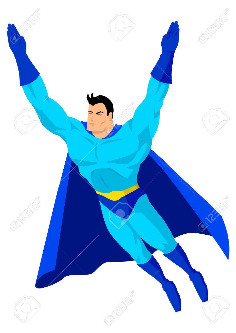 Cartoon Superhero In Flying Pose Royalty Free Cliparts, Vectors ...