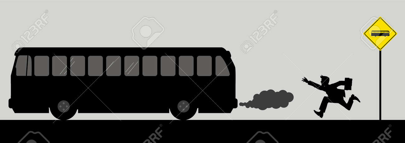 Vector illusration of a man chasing the bus Stock Vector - 9061633