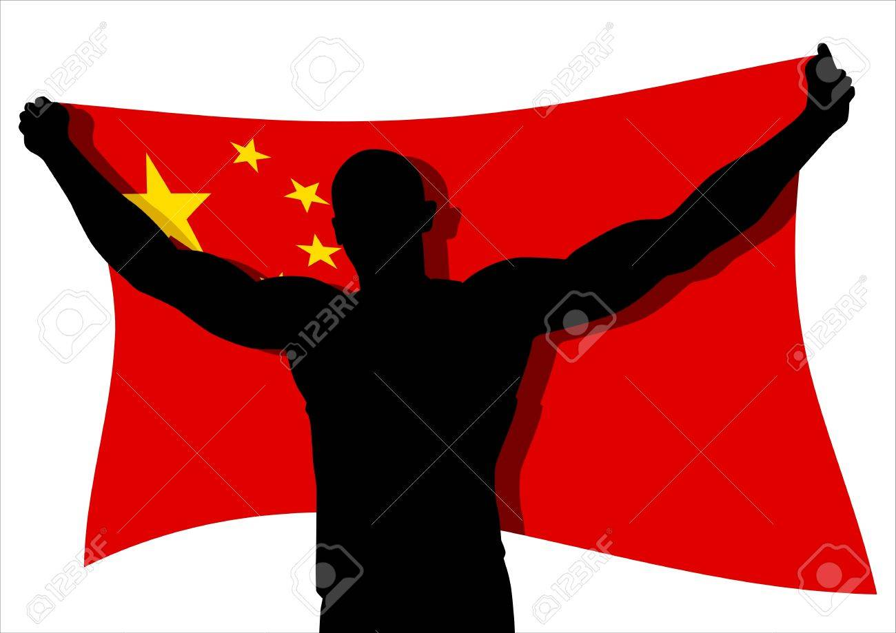 Vector illustration of a man figure carrying the flag of China Stock Vector - 9061606