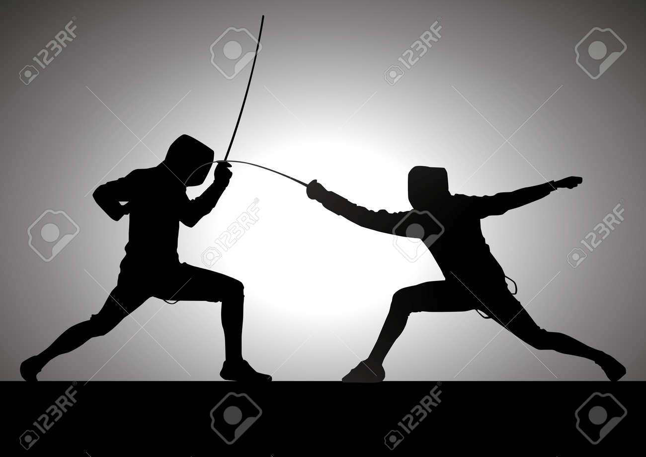 Silhouette illustration of two fencers Stock Vector - 9187082
