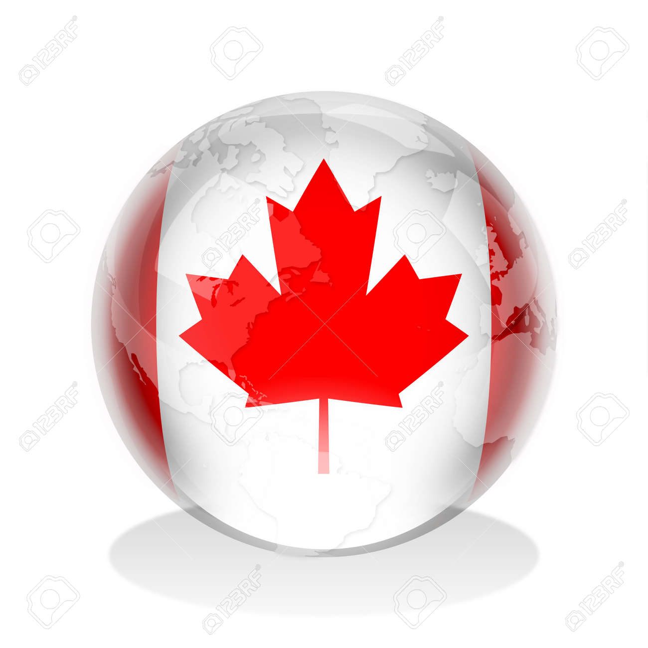 Crystal Sphere Of Canadian Flag With World Map Stock Photo - Canada in the world map