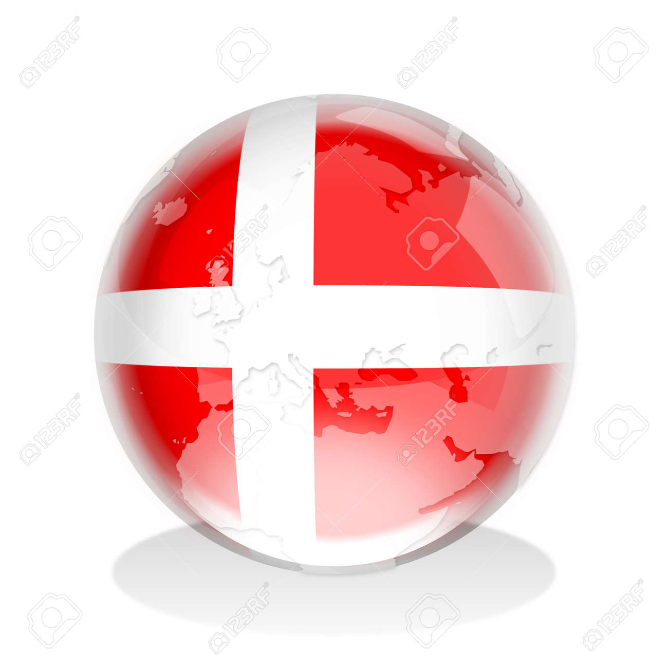 crystal sphere of denmark flag with world map stock photo picture