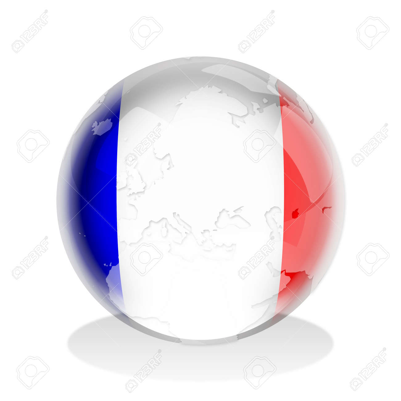 Illustration of a glass sphere with French flag and world map in it Stock Illustration - 9300105
