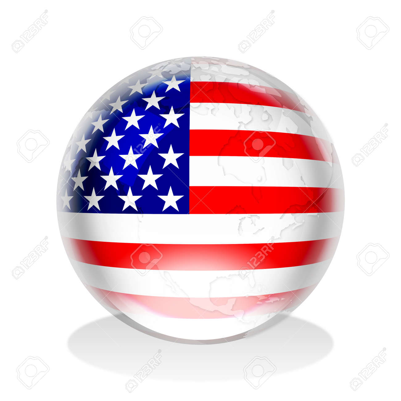 Illustration of a crystal sphere with american flag and world illustration illustration of a crystal sphere with american flag and world map gumiabroncs Images