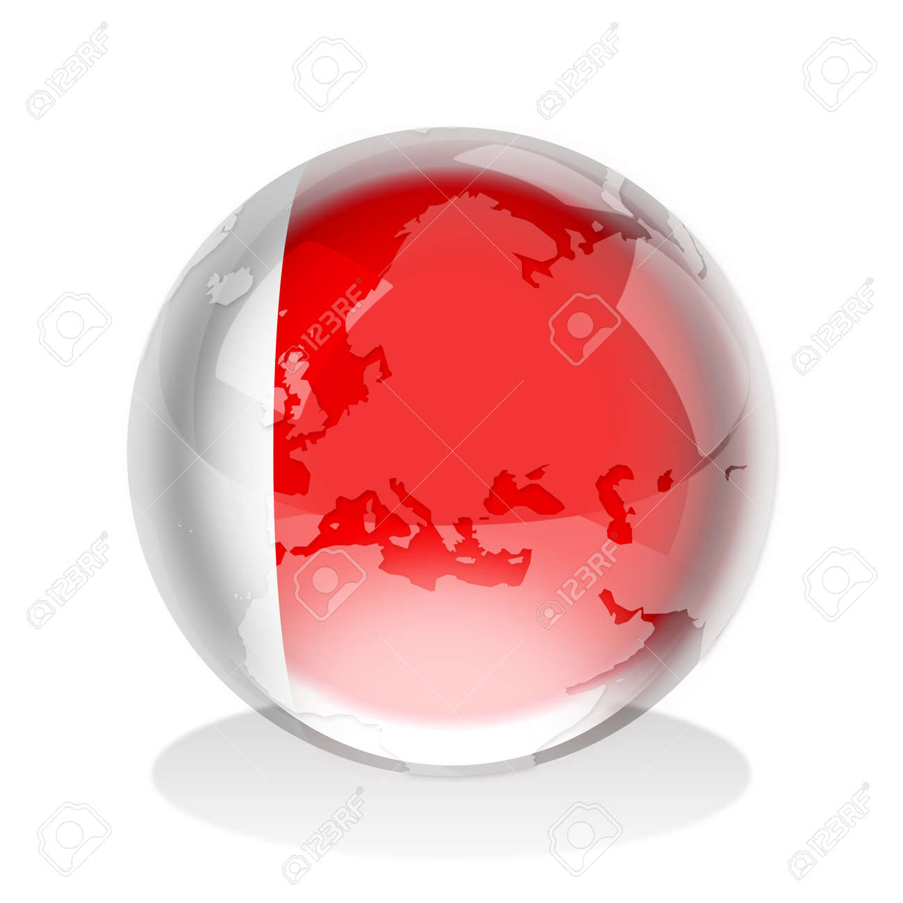 Crystal sphere of Emirate of Dubai flag with world map