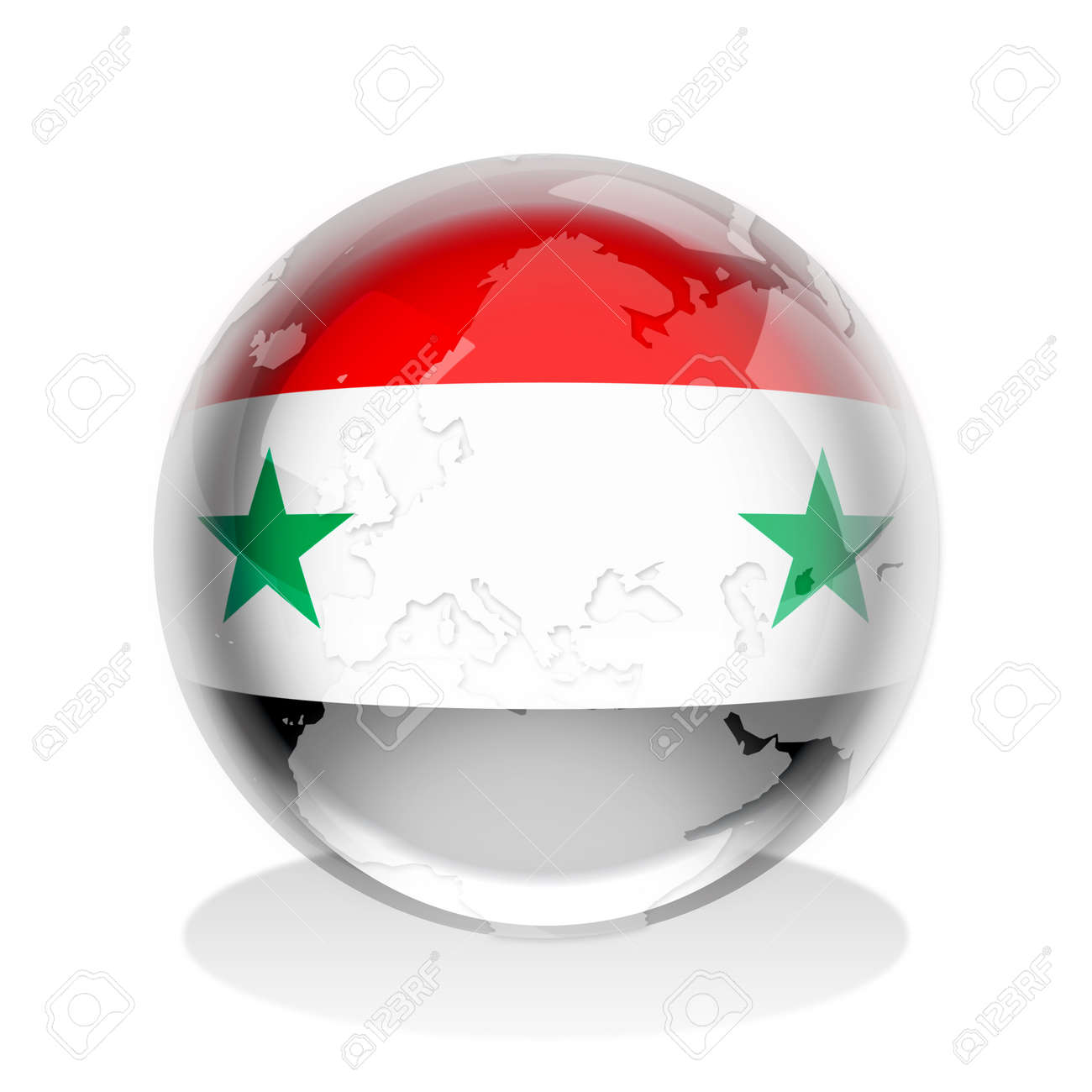 Crystal sphere of Syria flag with world map Stock Photo - 9511338