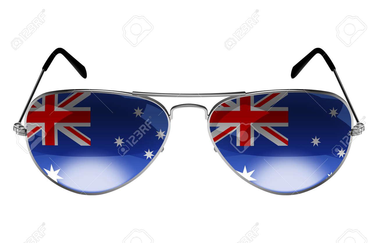 Réflexion Avec Lunettes Soleil Le La De L'australie Drapeau Que q5Aj3Rc4L