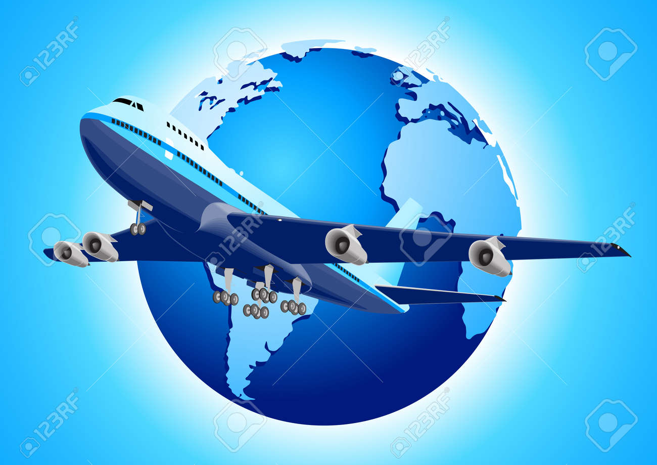 An airplane and earth illustration - 9880269