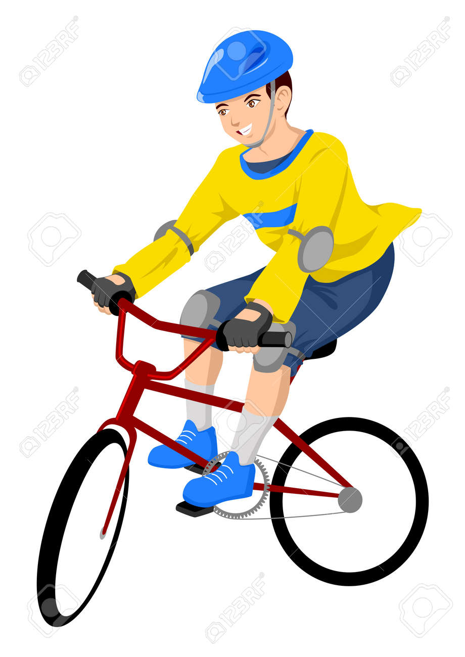 Vector illustration of a boy riding a bicycle Stock Vector - 9930606