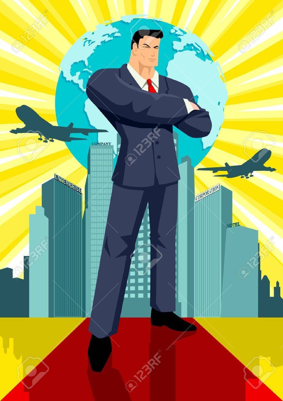 Illustration of a man in business suit standing in front of buildings and a globe Stock Vector - 10477770