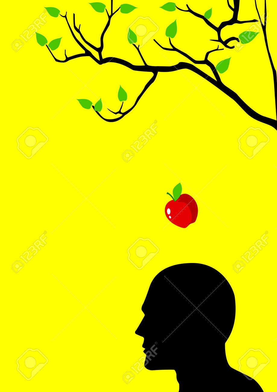 illustration of an apple falling dawn to the head Stock Vector - 10669916