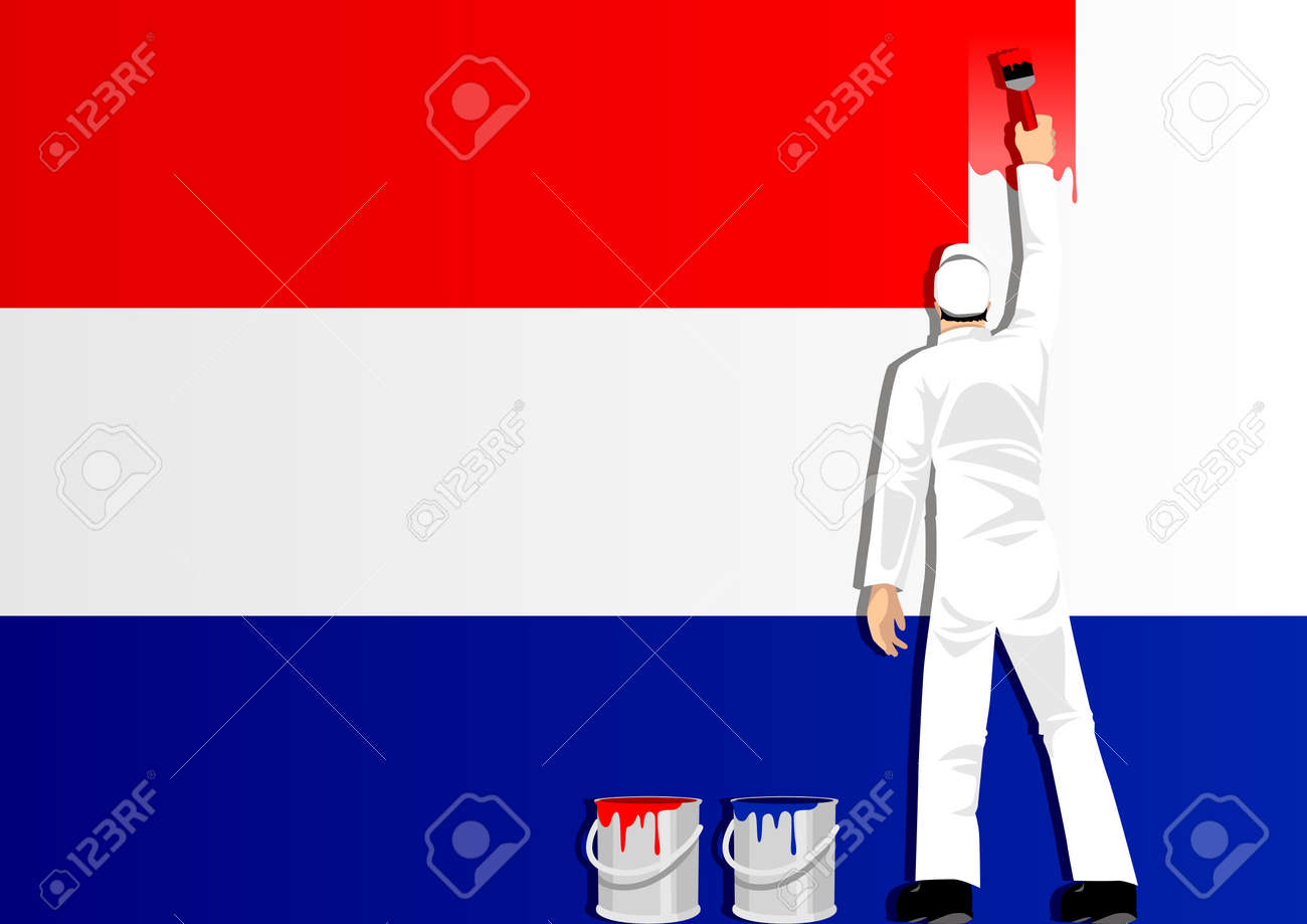Illustration of a man figure painting the flag of Netherlands Stock Vector - 10917776