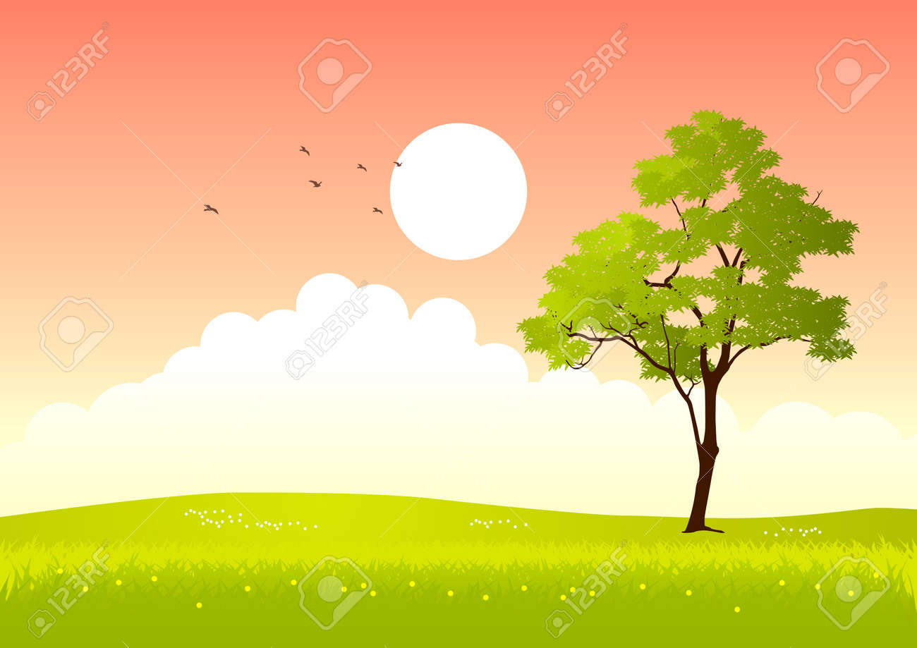 illustration of a tree in summertime - 10904807