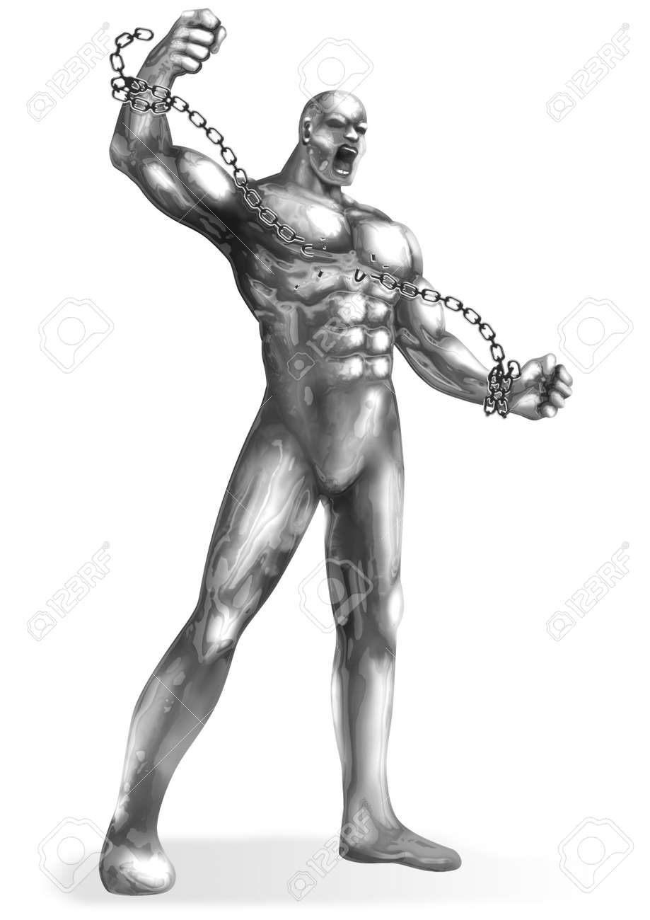 A chrome man breaking the chains Stock Photo - 10904551
