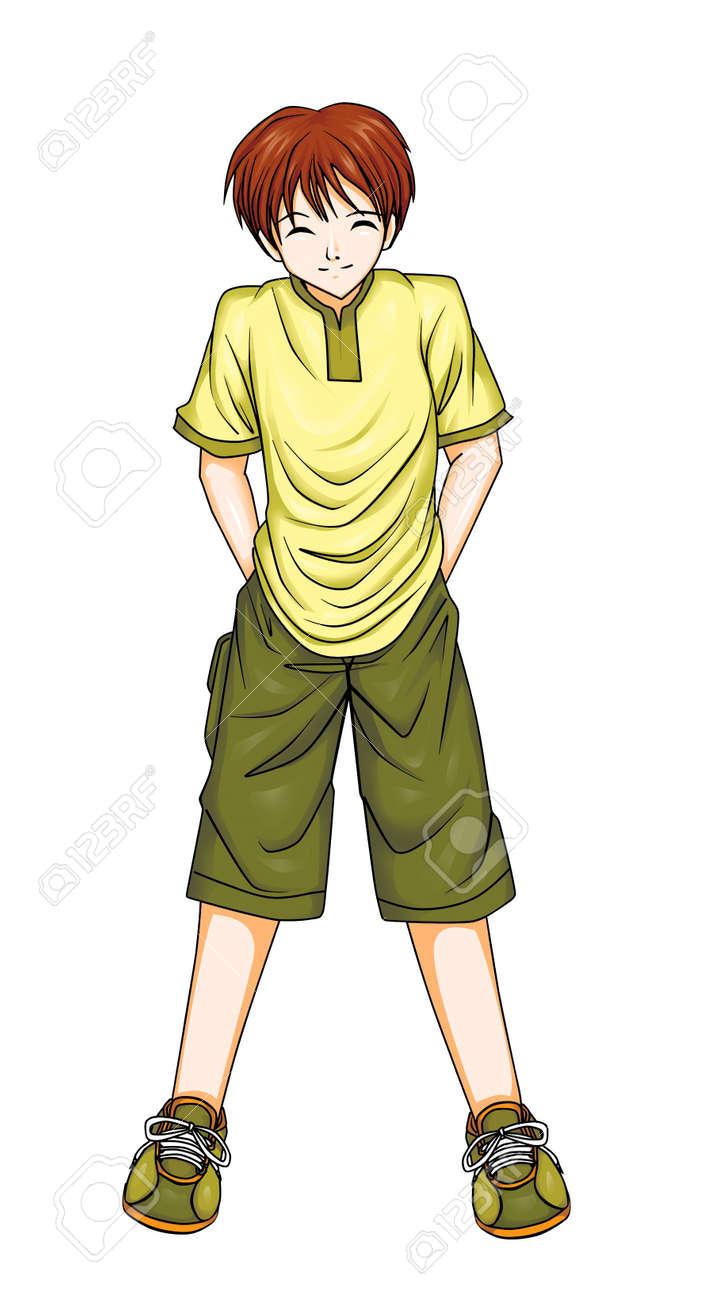 Illustration D Un Garcon Dans Le Style Manga Photoshop Tracage