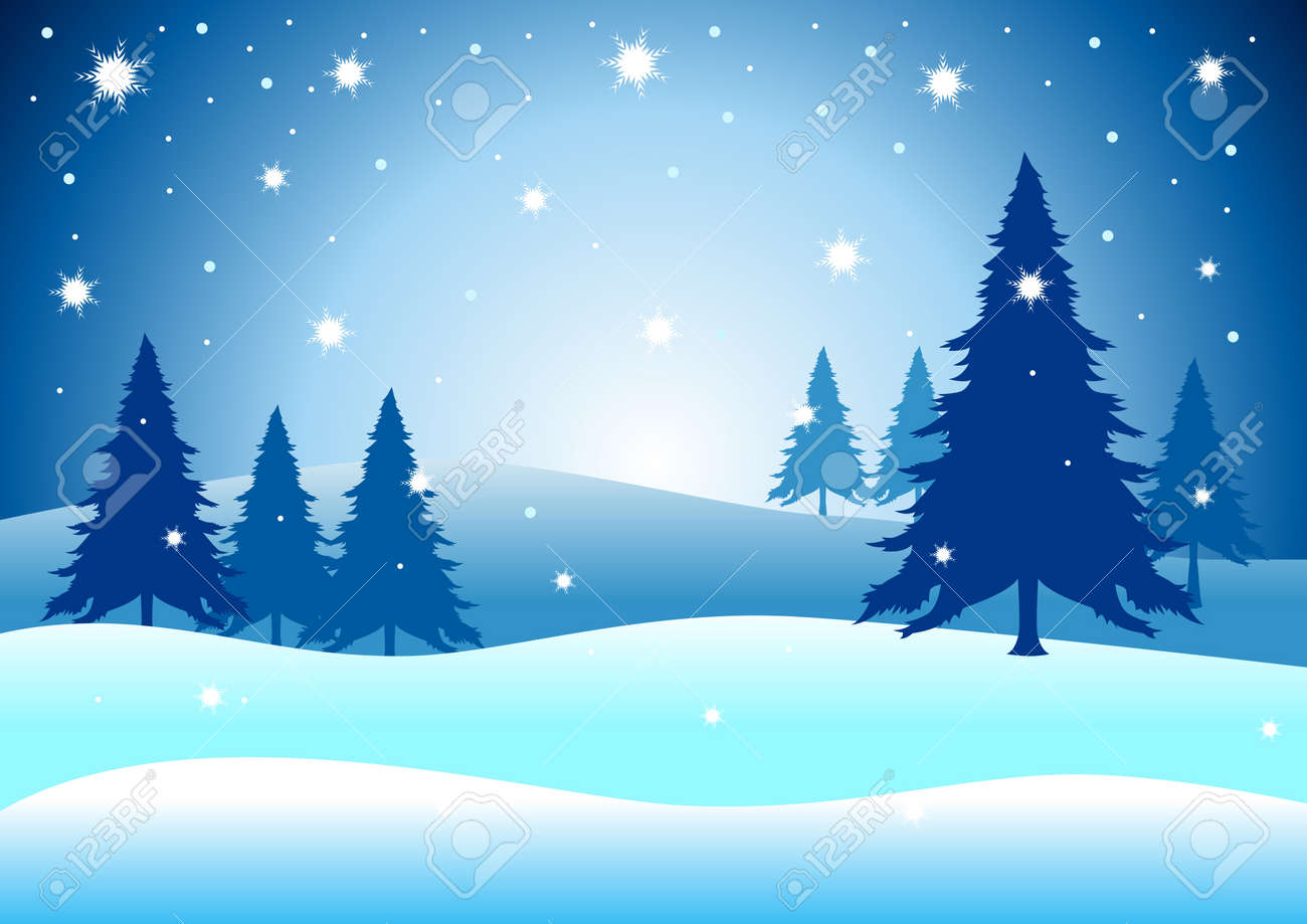 Vector illustration of pine trees on snowy hills Stock Vector - 11376489
