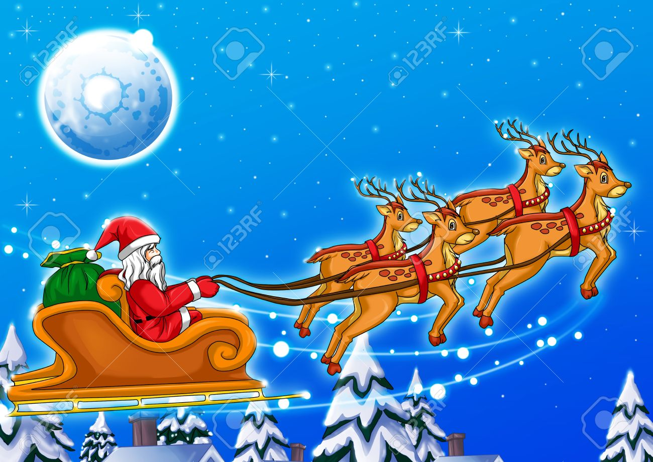 Illustration Of Santa Claus Riding His Sleigh Stock Photo, Picture And  Royalty Free Image. Image 11376468.
