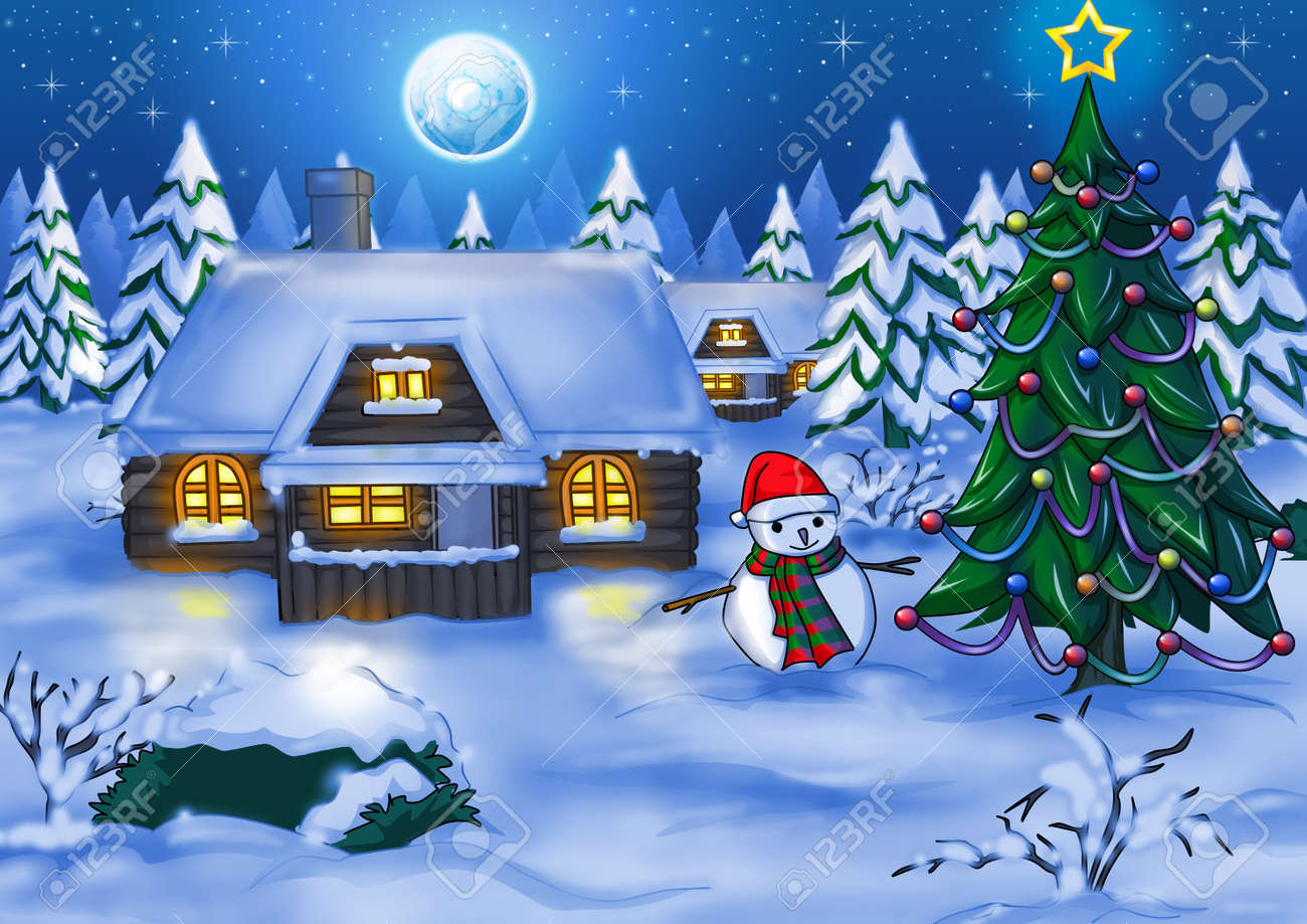 Illustration of houses at night time during winter Stock Photo - 11703457