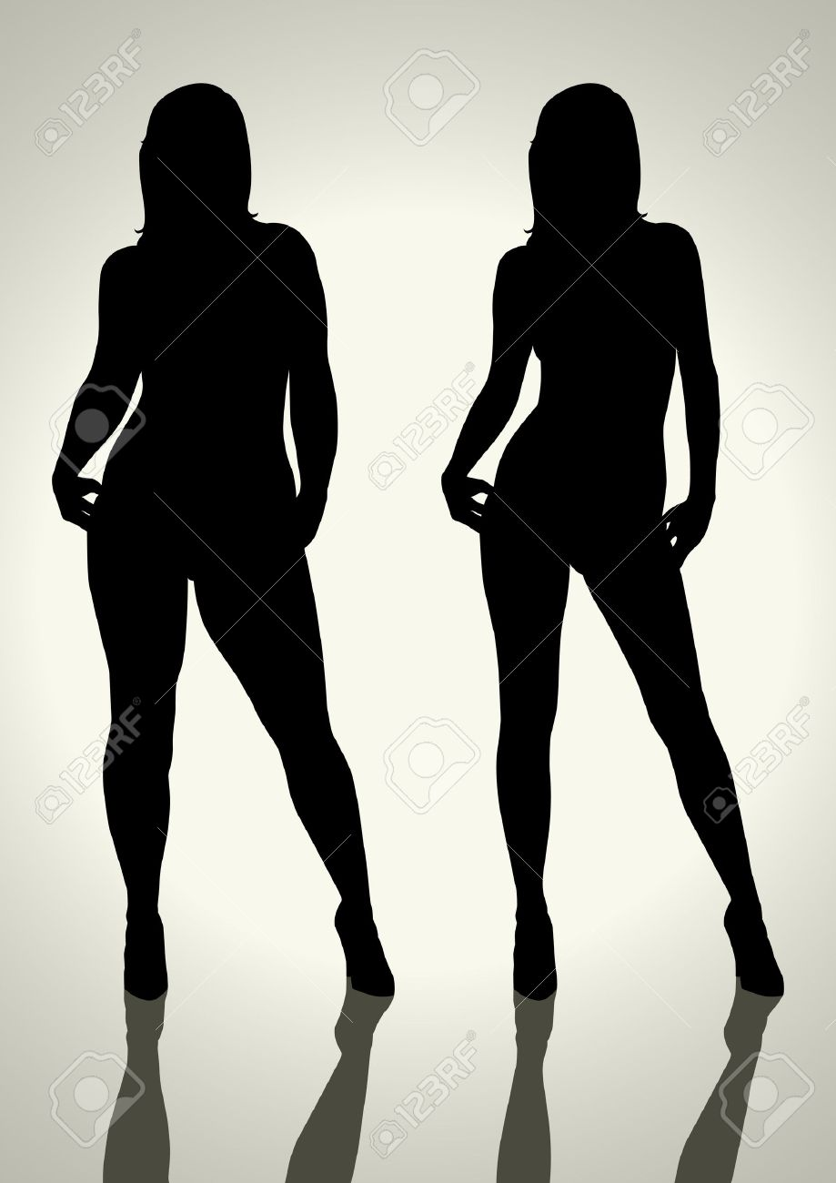Silhouette illustration of a fat and slim woman figure Stock Vector - 12137883