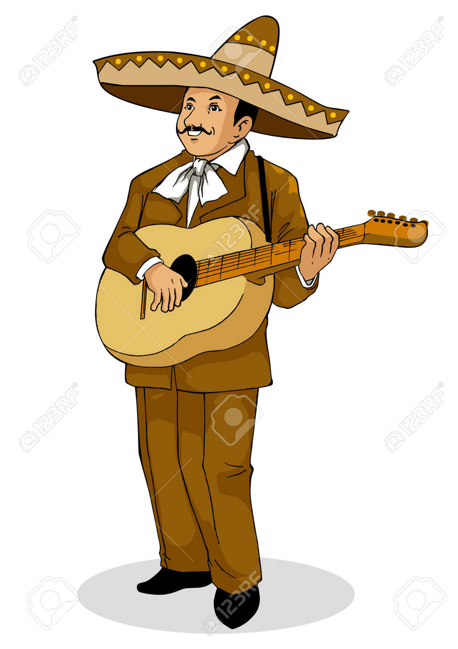 illustration of a Mexican musician Stock Vector - 12137885
