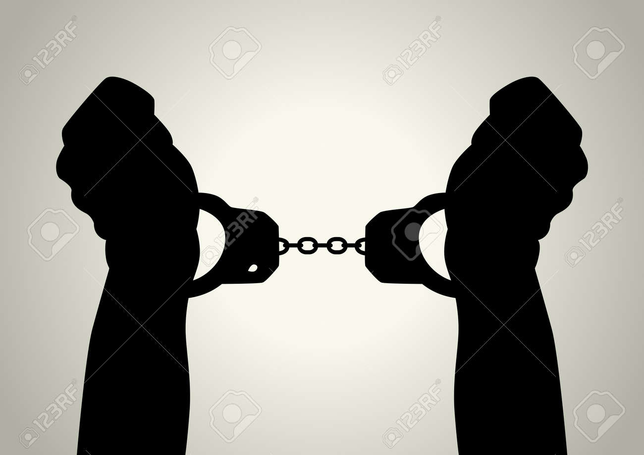Silhouette illustration of human hands handcuffed Stock Vector - 12137881