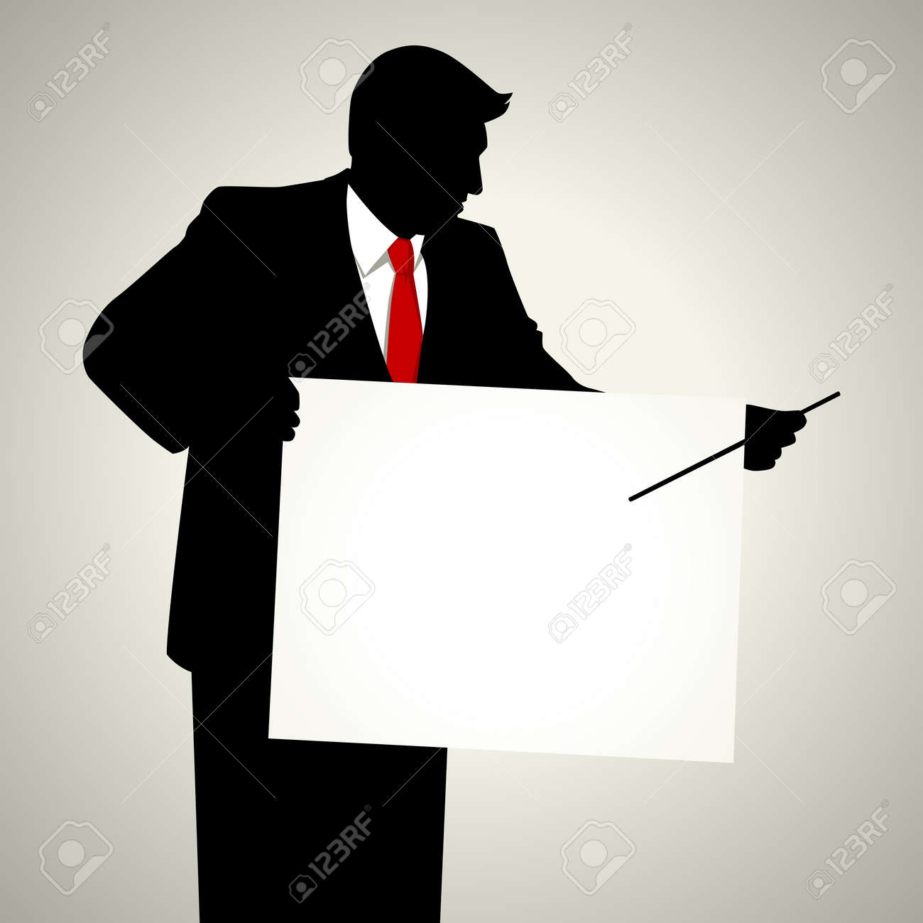 Silhouette illustration of a male figure with presentation board Stock Vector - 11917277