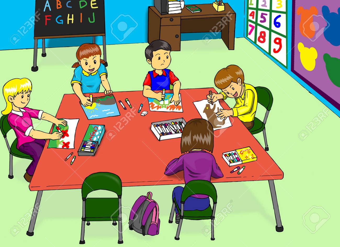 Souvent Illustration D'une Classe De Maternelle Banque D'Images Et Photos  TL29