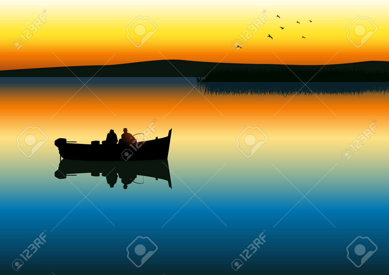 illustration of two men silhouette fishing on tranquil lake - 12137903