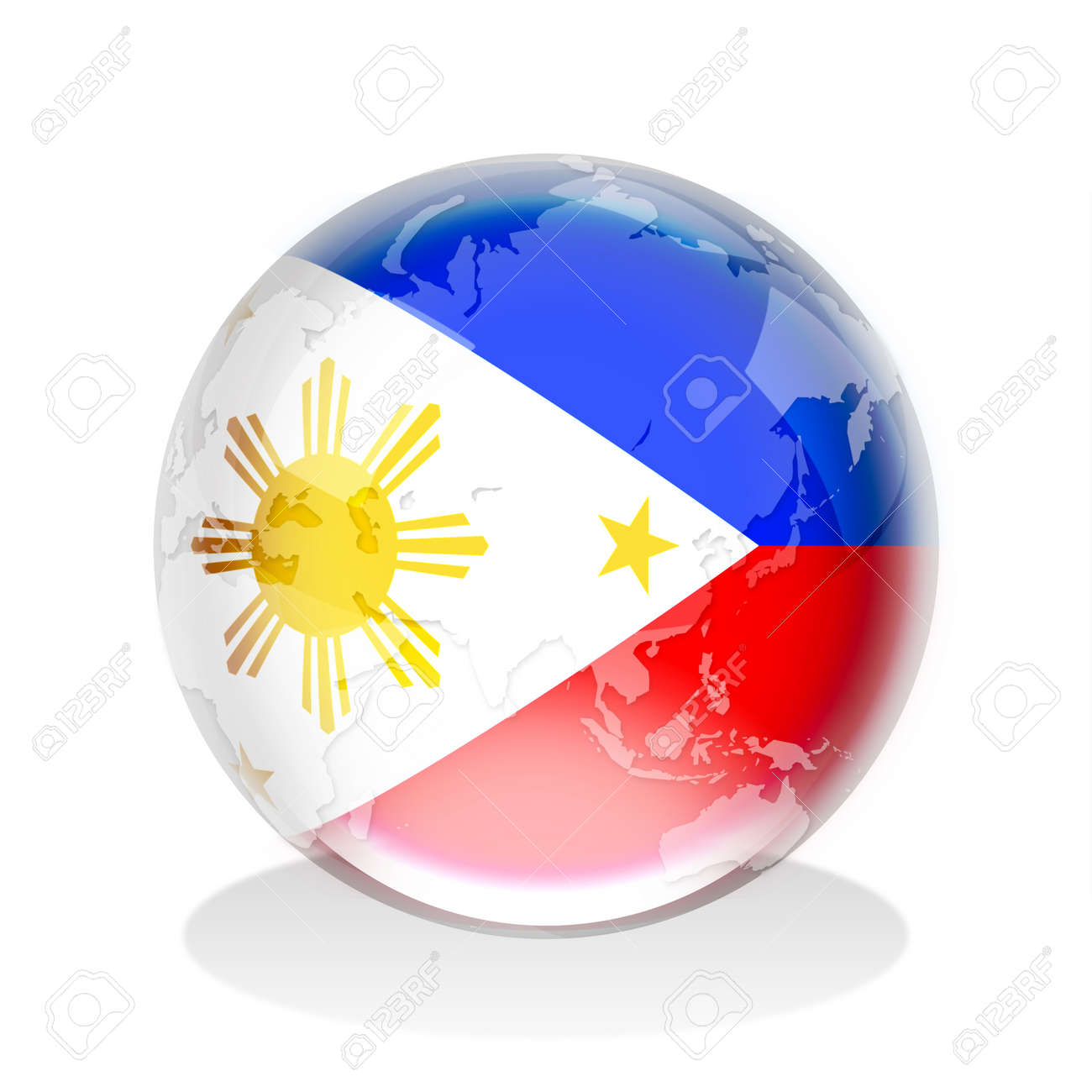 Crystal Sphere Of Philippines Flag With World Map Stock Photo ...
