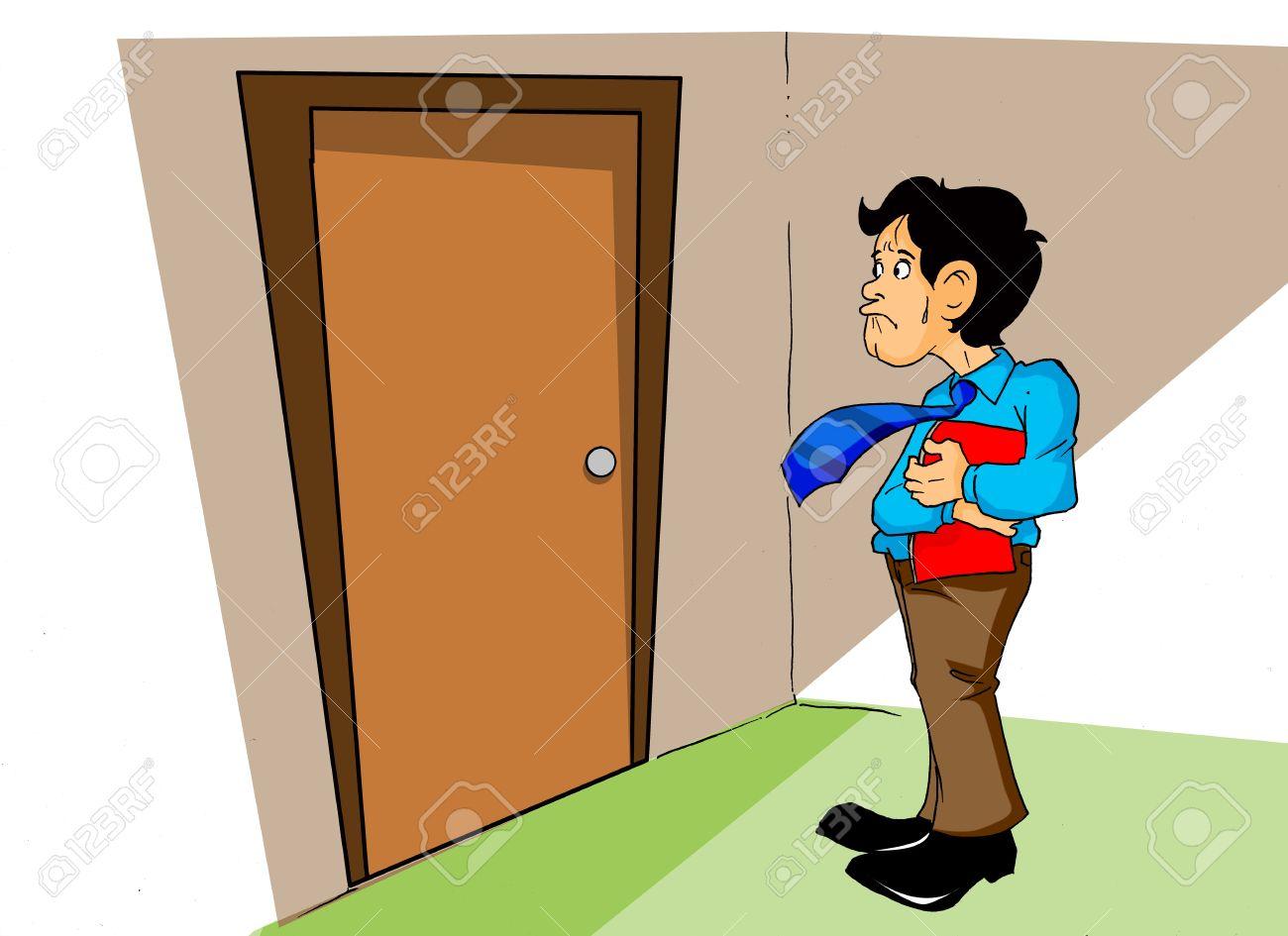Cartoon illustration of an employee afraid to enter the boss office Stock Illustration - 12930186